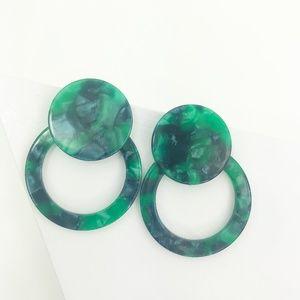 Circle Drop Studs in Green